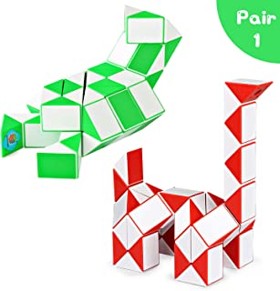 Snake Speed Cube Puzzle Toys 48Parts Twist Magic Ruler Cube Pack Hand Fidget Toy Games Set for Kids Children Adults
