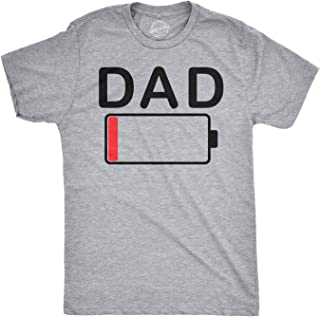 Mens Dad Battery Low Funny Empty Tired Father Parenting Father's Day T Shirt