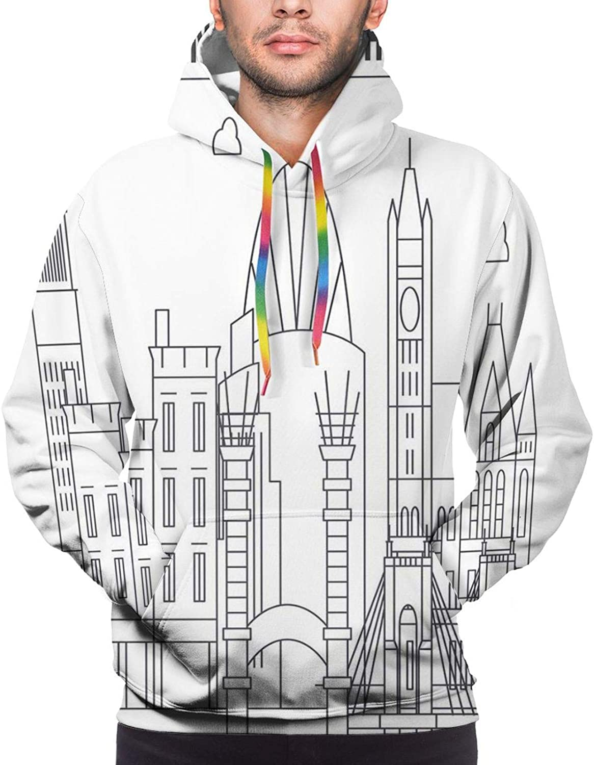 Men's Hoodies Sweatshirts,Geometric Design with Old Rich Royal Elements and Moroccan Star Dark Ancient