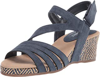 Easy Street womens Espadrille Wedge Sandal, Navy, 10 Narrow US
