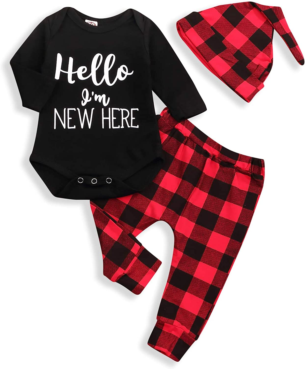 Infant Newborn Baby Boys Fall Outfits Long Sleeve Romper+Plaid Pant Set Fall Bodysuit Clothes