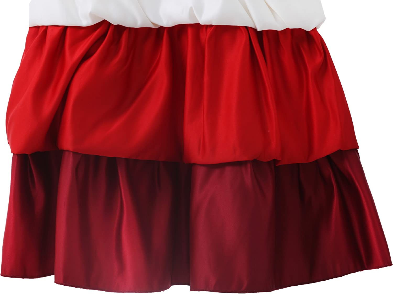 Richie House Big Girls' White and Red Multi-Layered Dress with Rose RH0164