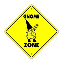 "onepicebest Gnome Crossing Decal Zone Xing Garden Lawn Fantasy Statue Nome Dwarf Metal Novelty Sign 12""x12"""