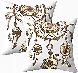 Ducan Lincoln Pillow Case 2PC 18X18,Fundas De Almohada,Funda Cuadrada Fundas De Almohada Tinta Dibujada A Mano Plumas Atrapasueños Símbolo Étnico Tribal Americano Tradicional Tema Tribal