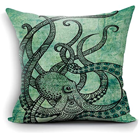 Amazon Com Home Decor Sofa Gorgeous Cool Octopus Color Printed Cotton Throw Pillow Case Cushion Cover Bedroom Living Room Decorative 18 X18 Square Present For Dad Mom Son Daughter Sister Brother Wife Husband Home Kitchen