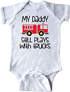 Firefighter Daddy Plays with Trucks Infant Creeper