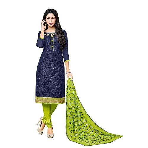 6975d5fd6 Applecreation Women S Cotton With Mirror Work Unstitched Salwar Suit (Navy  Blue Free Size)