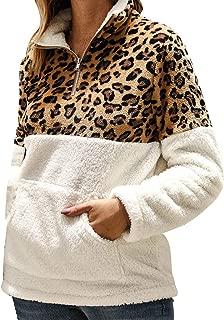 CANAFA Womens Leopard Patchwork Winter Faux Fleece Long Sleeves Casual Sweatshirts Top Blouse