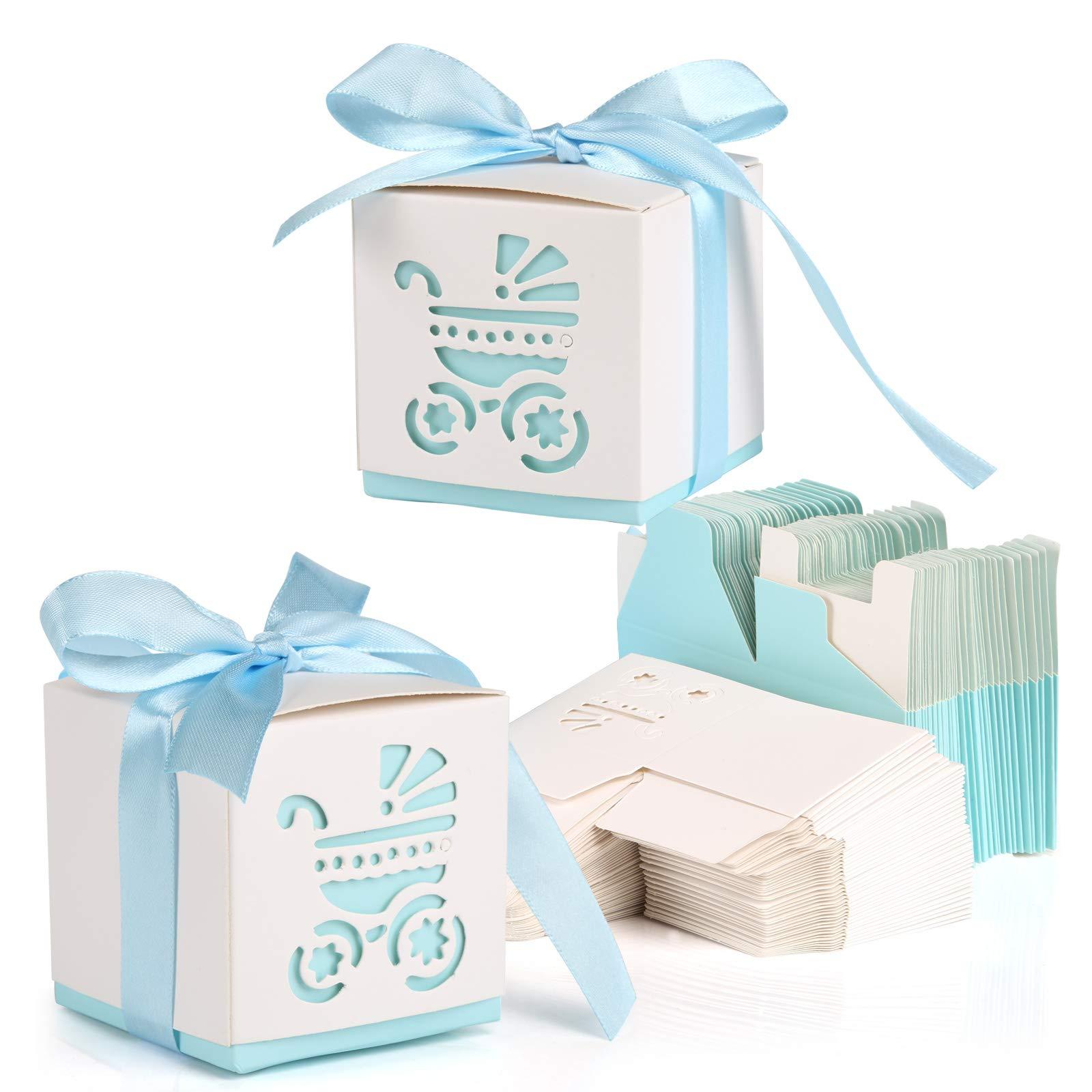 Kesote 50 Cajas de Papel para Dulces Bombones Cajas de Caramelos Bautizos Cumpleaños Baby Shower Comunion Regalo con 50 Cintas, 6 x 6X 6 CM: Amazon.es: Juguetes y juegos