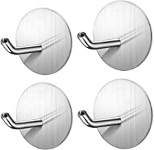 Hgery Adhesive Hooks, Self Adhesive Wall Mounted Hangers for Keys Robe Coat Towel, Heavy Duty Strong Brushed Stainless Ste...