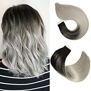 Tape In Hair Extensions Human Hair Balayage Ombre Hair 20pcs/50g Per Set Natural Black Fading to Silver Gray Double Sided Tape Skin Weft Remy Silk Straight Hair Glue in Extensions Human Hair 18 Inch