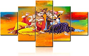 Modern Decorations for Home Lord Radha Krishna Pictures Colorful Wall Art Hindu Paintings Contemporary Artwork Home Decor for Living Room Wooden Framed Gallery Wrapped Ready to Hang(60''Wx32''H)