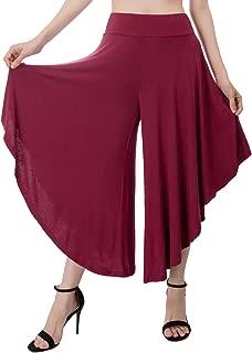Women's High Waist Wide Leg Pants Palazzo Capri Pants Comfy A Line Flowy