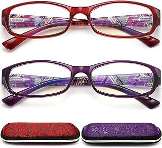 Reading Glasses Womens Blue Light Blocking, 2 Pack Ladies Computer Readers +1.0, Lightweight Quality Comfort Eyeglass