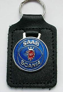 Saab Scania Schlüsselanhänger Emaille und Leder