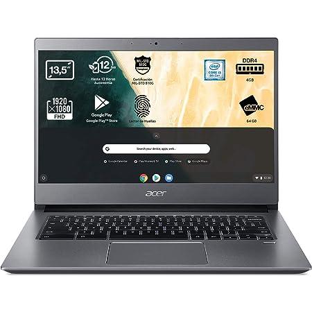 "Acer Chromebook 714 CB714-1W - Ordenador Portátil Táctil 14"" Full HD IPS, Laptop (Intel Core i3-8130U, 4GB RAM, 64GB eMMc, Intel UHD Graphics, Chrome OS), PC Portátil Gris - Teclado Qwerty Español"
