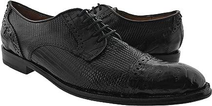 Dolce Pelle - Men's Black Genuine All Real Lizard Crocodile Skin Dress Shoe