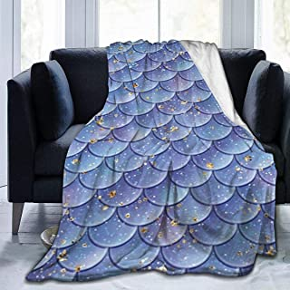 Viciony Blue Mermaid Fish Scales Flannel Fleece Blanket Ultra Soft Cozy Warm Throw Lightweight Blanket Microfleece Blanket for Home 60x50inches