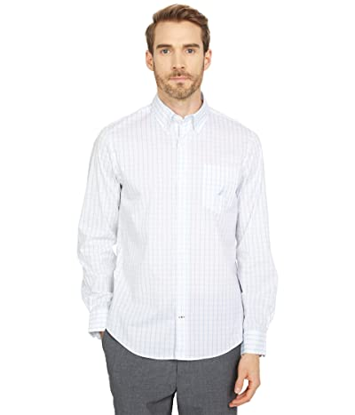 Nautica Navtech Slim Fit Plaid Shirt (Crystal Bay Blue) Men