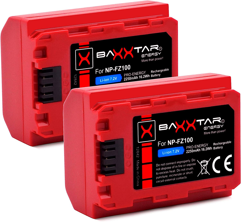 2X Batterie NP-FZ100 Baxxtar Pro - Aussi Compatible avec Sony Alpha 7c 7R IV etc g/én/ération IV - 2250mAh