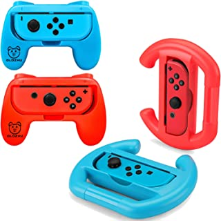 OLDZHU Grip Kit Joy-Con Grip and Controller Racing Switch Steering Wheel Compatible with Switch Mario Kart 8 Deluxe, 4 Pac...
