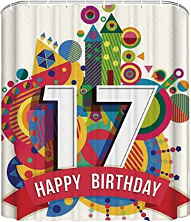 YOLIYANA 17th Birthday Decorations Simple Shower Curtain,Sweet Seventeen Party with Geometric Castle Boat and Shapes Image for Durable,66'' W x72'' H