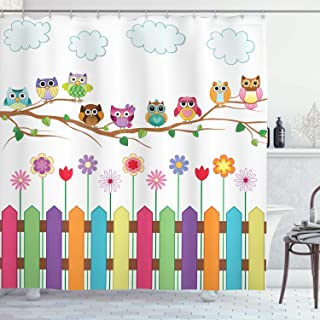 Ambesonne Owls Shower Curtain, Owls on a Branch Sunny Day in Countryside Farmhouse Fences Wildflowers Holidays Art, Cloth Fabric Bathroom Decor Set with Hooks, 70
