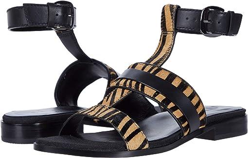 Black Multi Zebra Print Leather