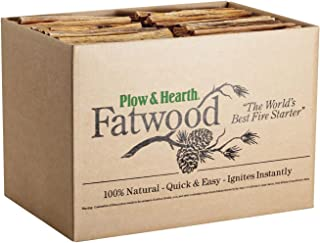 Plow & Hearth Boxed Fatwood Fire Starter All Natural Organic Resin Rich Eco Friendly Kindling Sticks for Wood Stoves Fireplaces Campfires Fire Pits Burns Quickly and Easily Safe Non Toxic (30 LB)