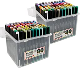 Mega Set of 160 Color Mastermarkers Permanent Professional Dual Tip Alcohol Double-Ended Art Markers with Chisel Point and Brush Tip - Soft Grip Barrels, Includes: Plastic Storage Case