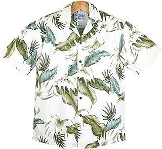アロハシャツ メンズ ハワイ製 シルキーホワイト/リーフグリーン コットン KY'S