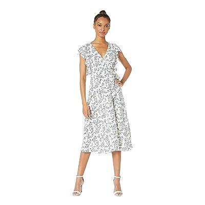 1.STATE Blossom Cluster Flounce Sleeve Wrap Dress (Soft Ecru) Women