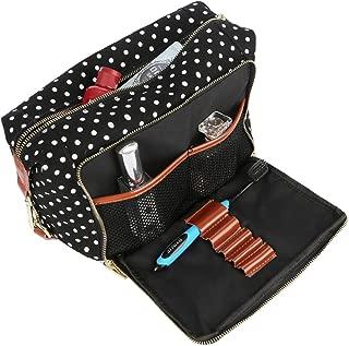 BAOSHA XS-04 Canvas Travel Toiletry Bag Shaving Dopp Case Kit for Women and ladies (BK DOT)