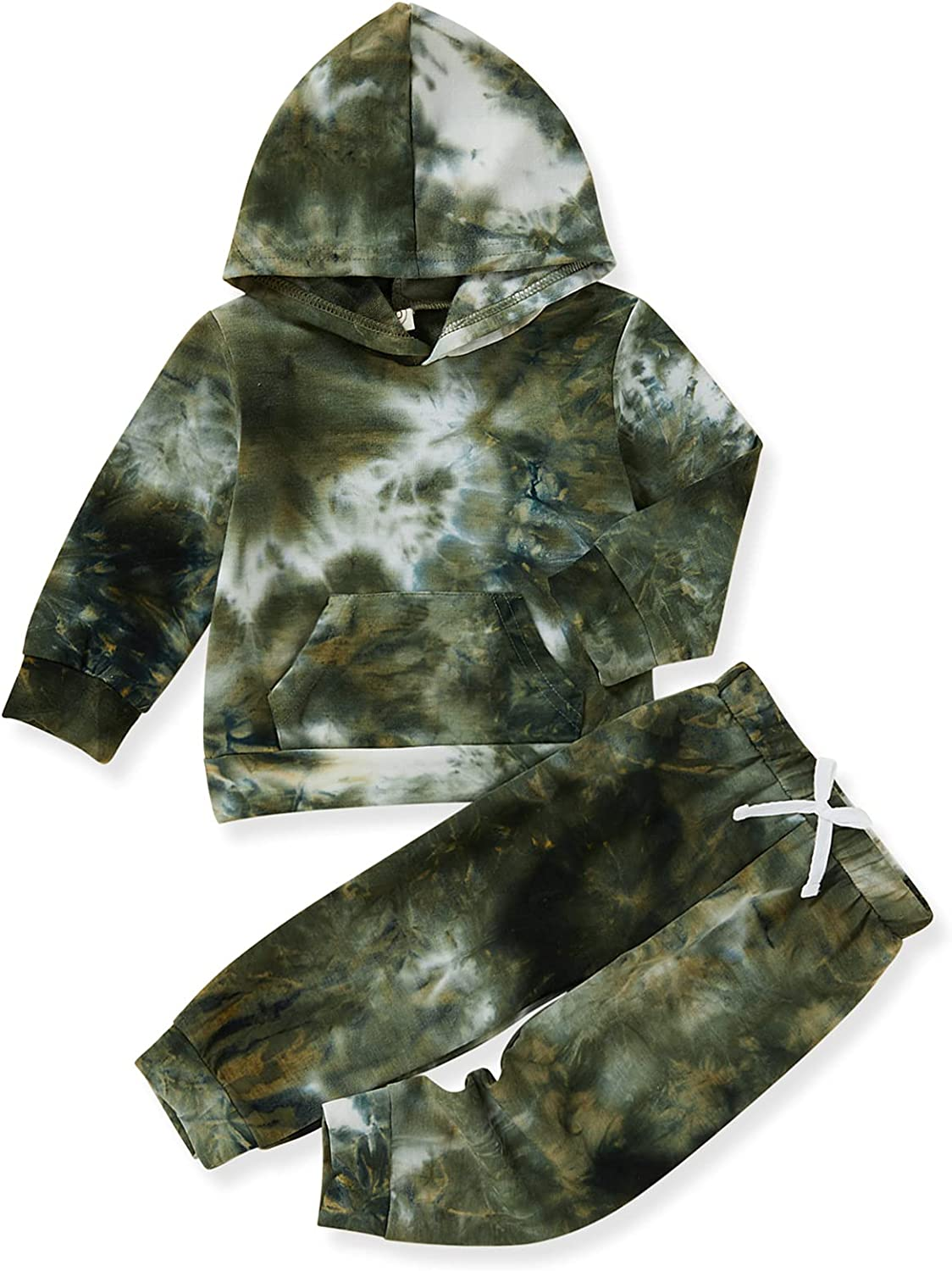 Toddler Baby Boy Tie Dye Pants Set Hoodie Pocket Top Long Pants 2PCS Fall Winter Outfits Clothes