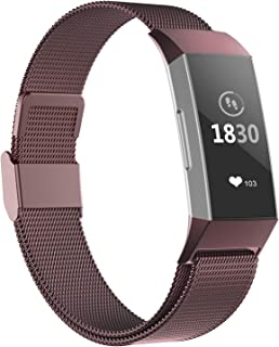 POY Compatible for Fitbit Charge 3 Bands,Replacement Wristbands for Fitbit Charge 3 SE Fitness Activity Tracker, Metal Stainless Steel Bracelet Strap with Unique Magnet Lock for Women Men
