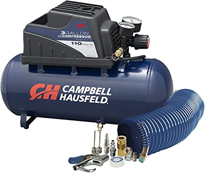 Air Compressor, Portable, 3 Gallon Horizontal, Oilless, w/ 10 Piece Accessory Kit Including Air Hose & Inflation Gun (Campbell Hausfeld FP209499AV): image