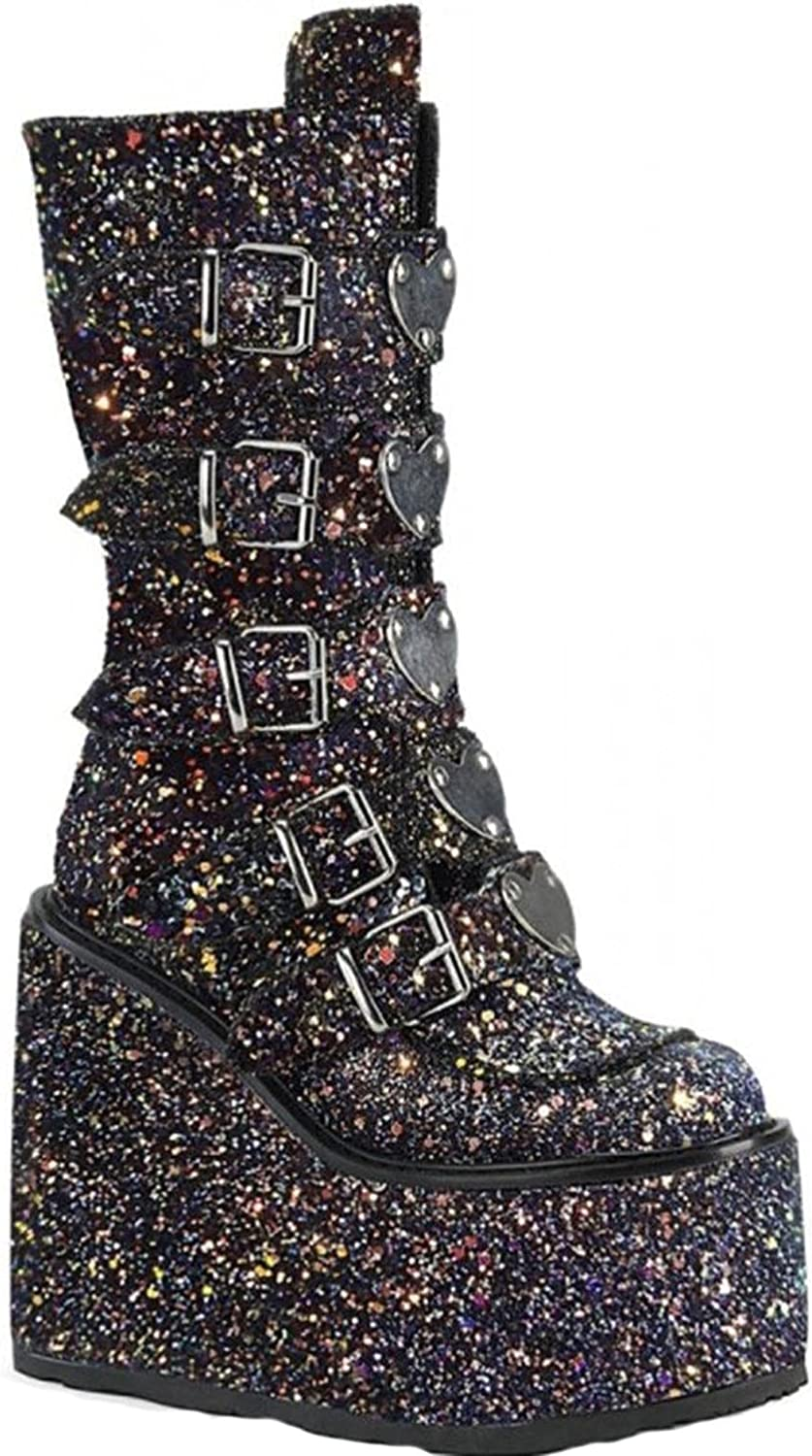 ZBRO Women's Goth Wedge Ankle Boots Gothic Buckle Platform High Heel Punk Booties, Glitter Goth Platform Boots for Women, Mid Calf Boots Sexy Chunky Thick Heel Combat Boots Punk Goth Boots