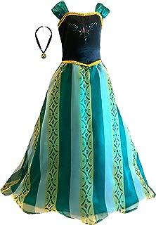 Cokos Box Girls Princess Anna Elsa Coronation Dress Costume with Choker Necklace Accessory