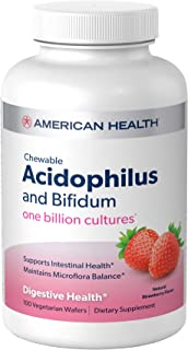 American Health Chewable Probiotic Acidophilus and Bifidum, Natural Strawberry Flavored, 2 Pack - Supports Digestive Healt...