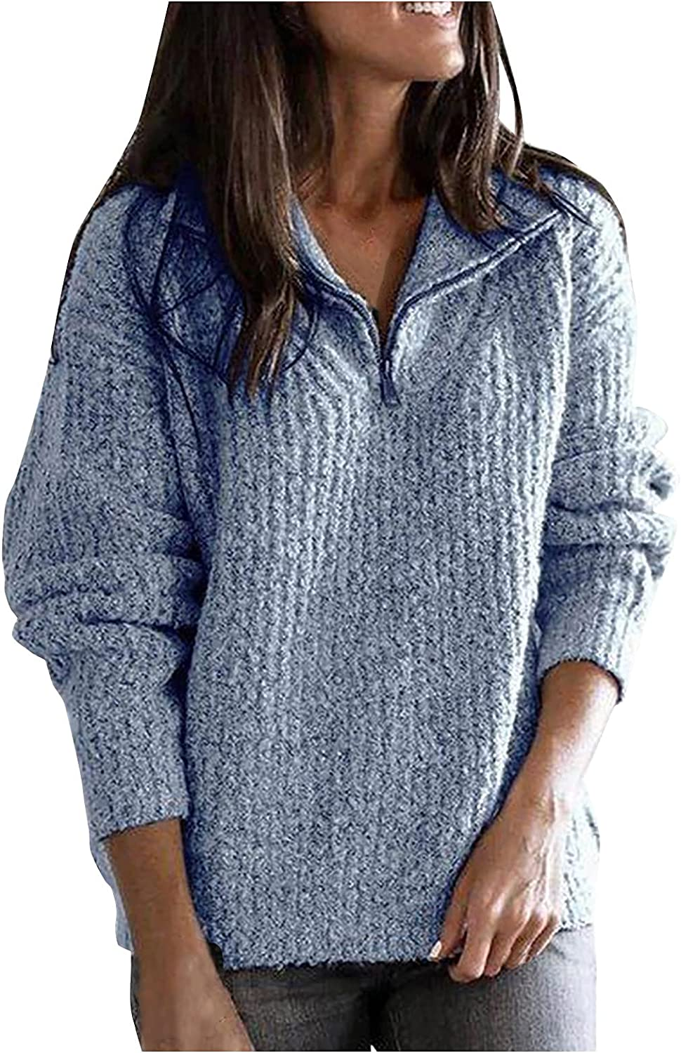 Women Stand Collar Ribbed 1/4 Zip Up Knitwear Sweater Pullover Tops Baggy Lapel O Neck Long Sleeve Sweaters Sweatshirt