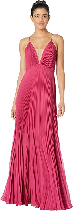 Pleated Deep V Dress
