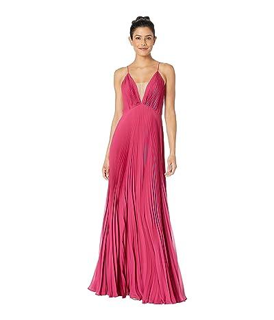 JILL JILL STUART Pleated Deep V Dress (Raspberry) Women