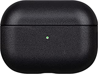 Lopie Handmade Series AirPods Pro Leather Case, Fully-Wrapped with Full-Grain Leather AirPods Pro Case Cover, Soft Microfiber Lining Protective Hard Case for Men/Women- Black
