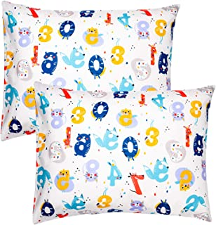 ZPECC Toddler Travel Pillowcases 2 Pack, 14x19 Organic Cotton Pillow Covers Fits Kid Pillows Sized 13x18 or 14x19, Hypoall...