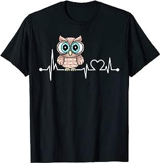 Owl Heartbeat Funny Love Animal Gift For Kid/Women/Men T-Shirt