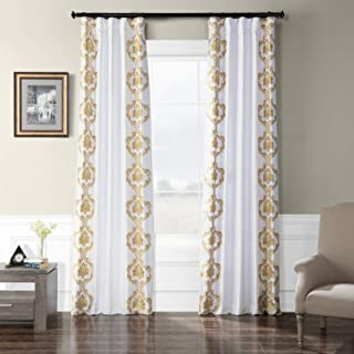 HPD Half Price Drapes EFSCH-18051A-120 Embroidered Faux Silk Taffeta Curtain, 50 X 120, Anastasia Gold