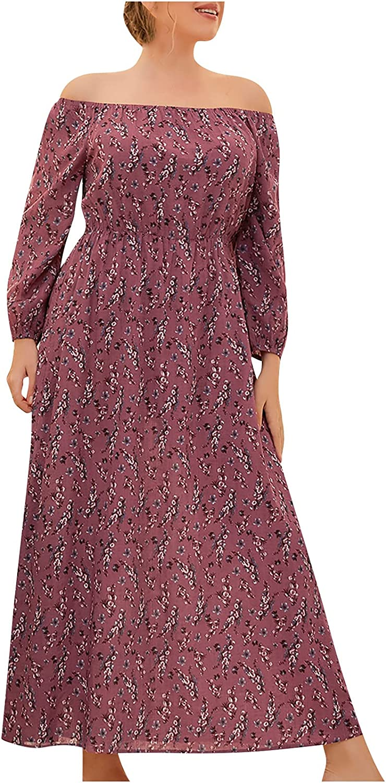 GOODTRADE8 Womens Dresses Maxi Dress Women Plus Size Floral Print Dress One Shoulder Long Sleeves Casual Long Dress