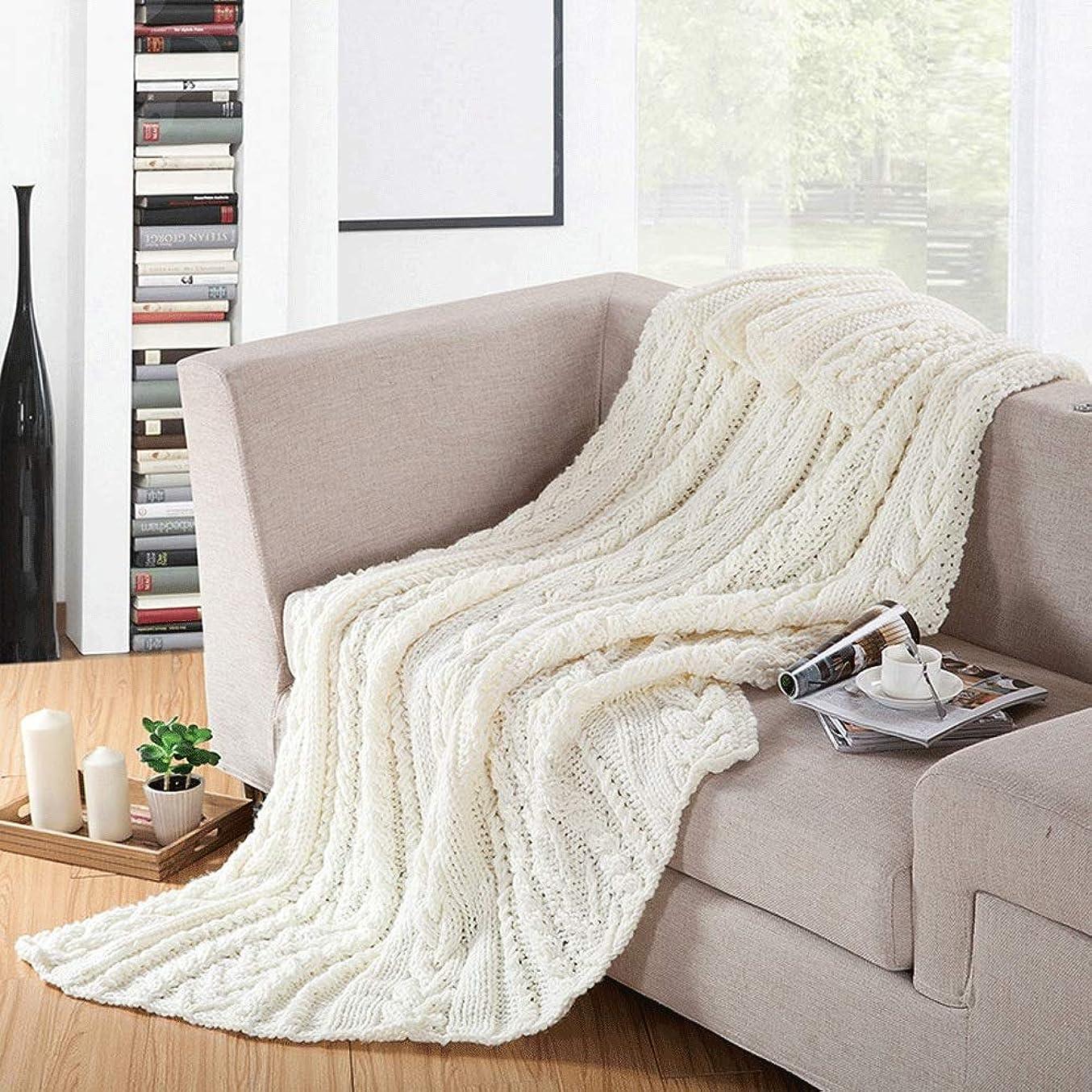 知的しかしながら警告するソフトカウチ毛布 毛布を編むスロー毛布多機能レジャー毛布ソファ毛布 ルームベッドルームビーチトラベル (Color : White, Size : 180cmx200cm)