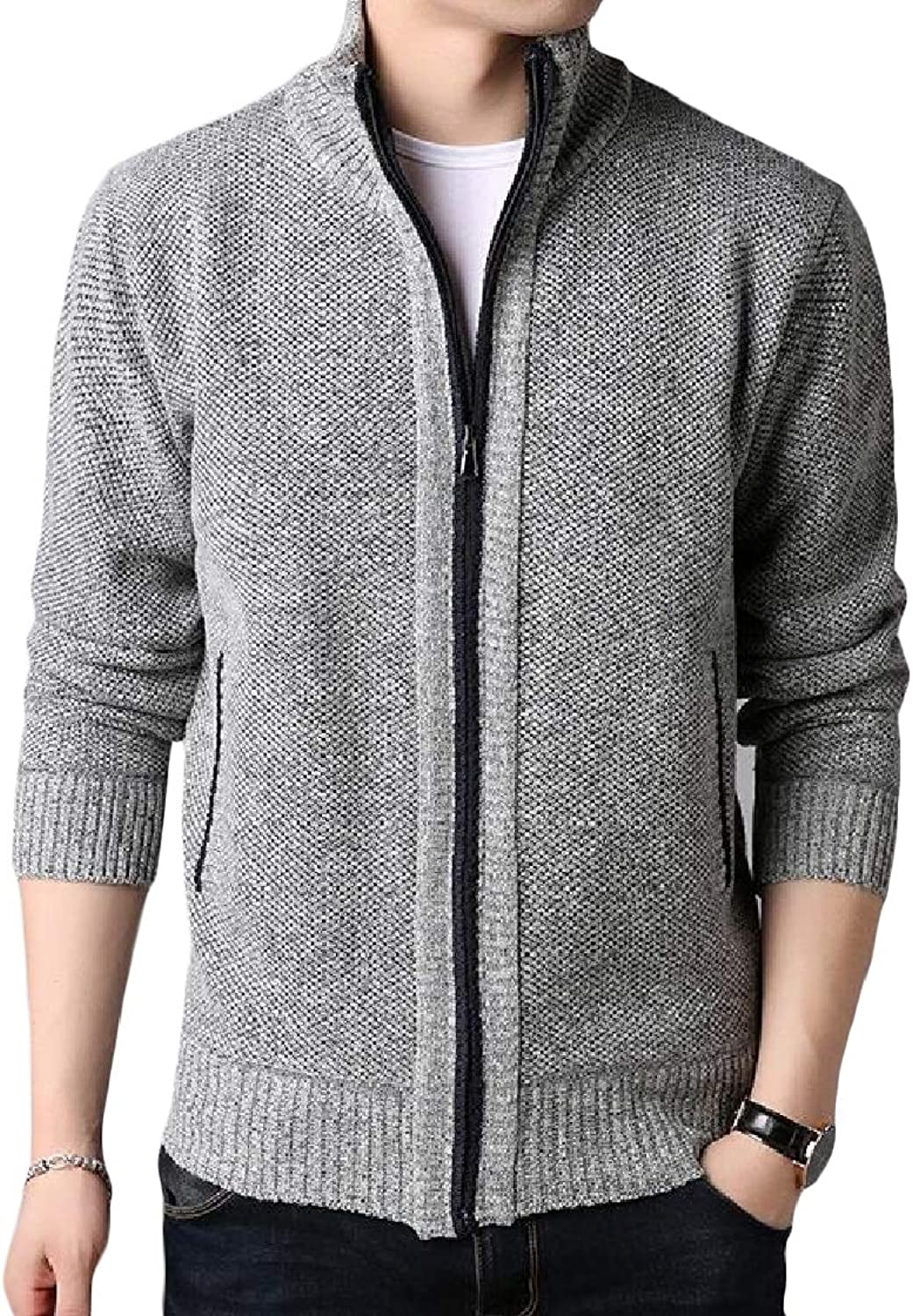 30fd12f1f604 Etecredpow-CA Men Zip-Up Casual Thick Knit Stand Collar Cardigan ...