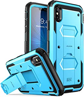 i-Blason Case for iPhone Xs Max 2018 Release, [Built in Screen Protector][Armorbox] Full Body Heavy Duty Protection Kickstand Shock Reduction Case, Blue, 6.5